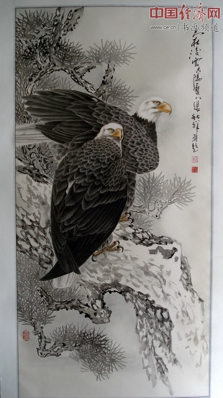 张秋祥鹰题材国画作品