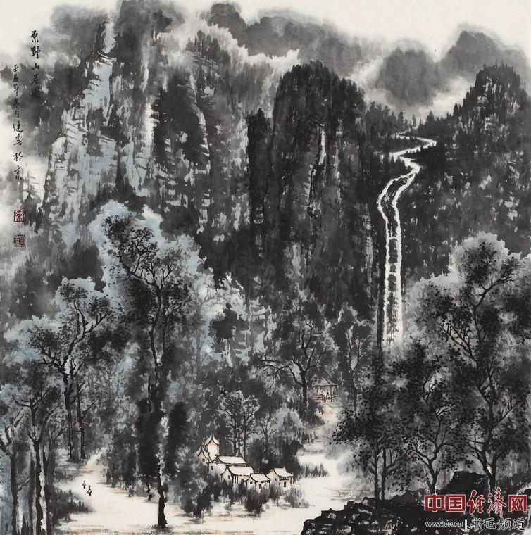 原野山居图0.69mx0.69m 作者:秦健春